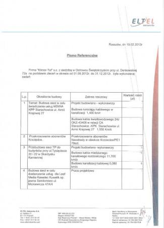 Eltel - zestawienie prac za 2012 cz. II 1